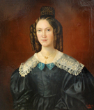 Portrait of a woman (with a bun and lace collar)