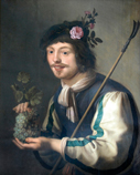 A young shepherd with a bunch of grapes and roses