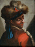 Head of a man with a fur hat