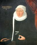 Portrait of a woman with ruff, small hat veil and a box of coins and valuables